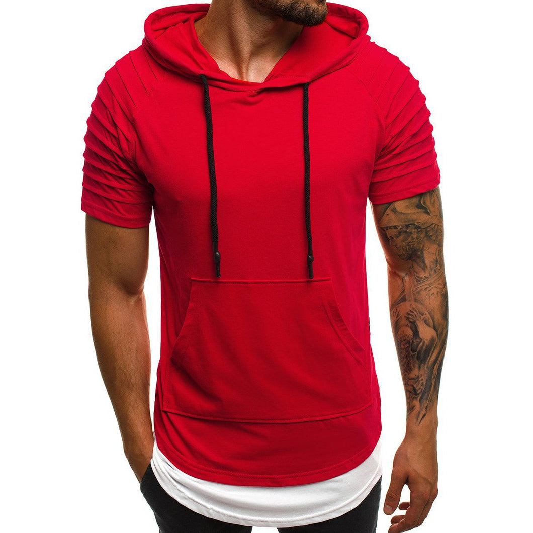 Casual Slim Solid Color Hooded T-Shirt