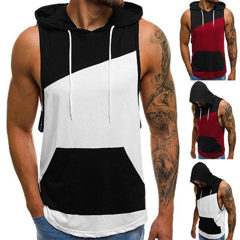 Men's Colorblock Hooded Loose Tank