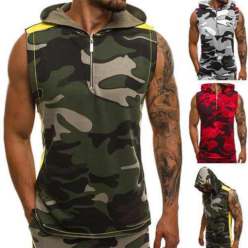 Street Style Loose Camouflage Hooded Zipper Tank