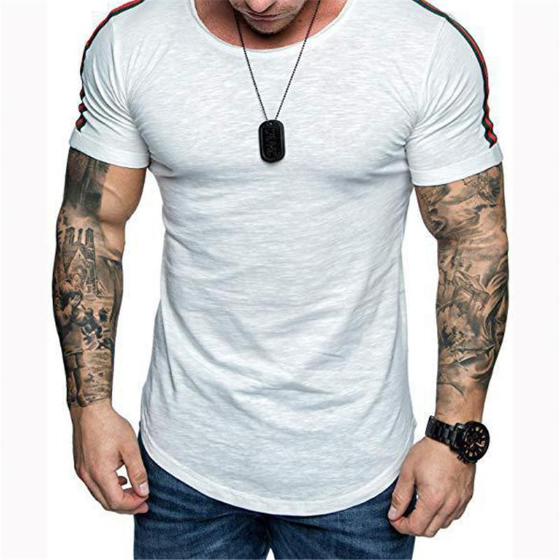 Casual Round Neck Slim Semicircular Lower Hem T-Shirt