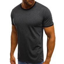 Load image into Gallery viewer, Round Neck Stitching Solid Color Short-Sleeved T-Shirt