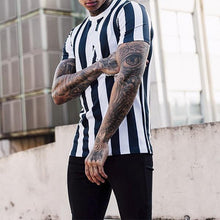 Load image into Gallery viewer, Street Style Colorblock Striped Print Short Sleeve Shirt