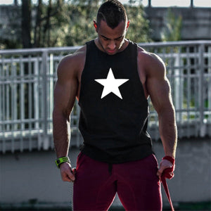 Fitness Sports Vest Five-Pointed Star Print Loose Vest Cotton