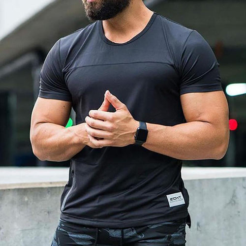 Casual Body-Building Round Neck  Ventilate T-Shirt