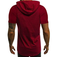Load image into Gallery viewer, Casual Hooded Short Sleeve Patterned T-Shirt