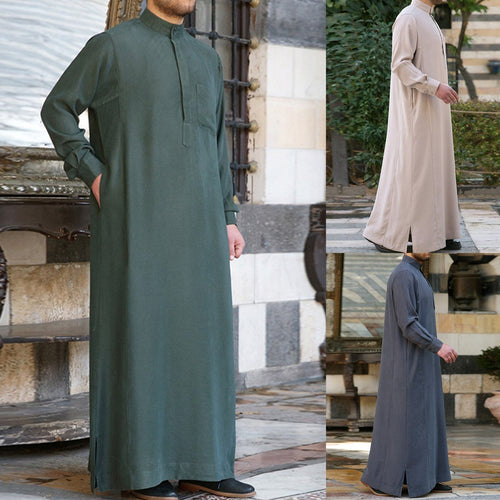 Muslim Arab Middle Eastern Long Sleeve Solid Color Men's Tops