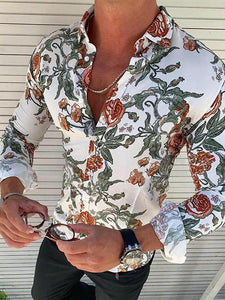 Fashion Floral Pattern Slim Fit Shirt