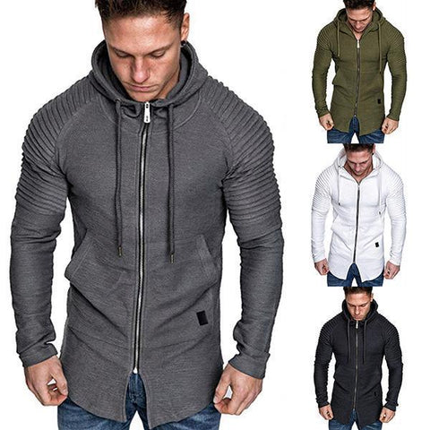 Casual Raglan Sleeve Zipper Hooded Sweatshirt