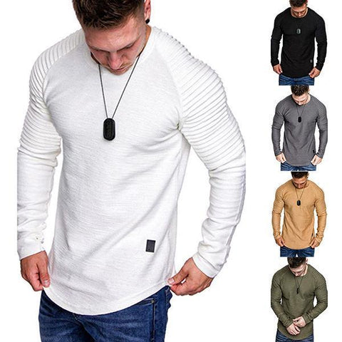 Fashion Pleated Round Neck Long Sleeve T-Shirt