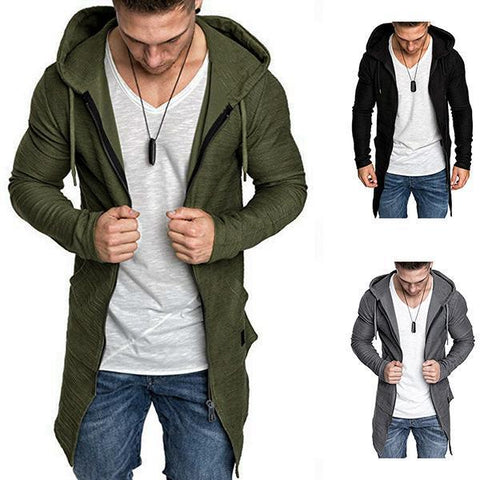 Fashion Pure Colour Mid-Length Zipper Hooded Sweatshirt