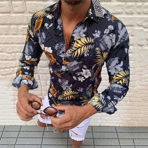 Casual Men's Lapel Single-Breasted Long Sleeve Printed Shirt