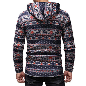 Casual Printed Long Sleeve Hooded Men's Sweater