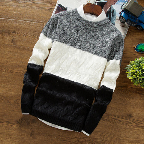 Casual Pullover Men Autumn Winter O Neck Gradient Color Knitted Sweater