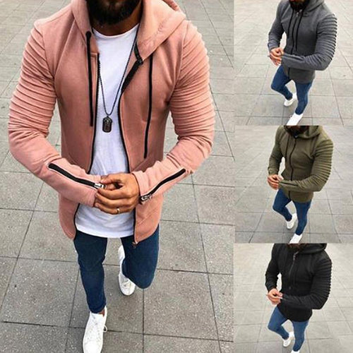 Pleated Long Sleeve Hooded Men's jacket
