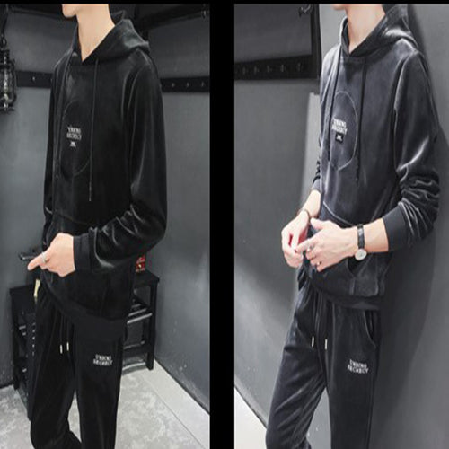 Men's Casual Suit Gold Velvet Pullover Hooded Sweater  Suits