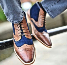 Load image into Gallery viewer, Splice Colouring Tie Casual Leather Shoes