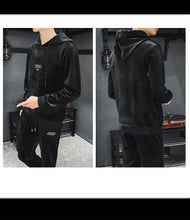 Load image into Gallery viewer, Men's Casual Suit Gold Velvet Pullover Hooded Sweater  Suits