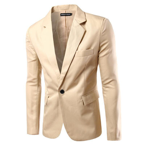 One button fashion slim suit pure color suit