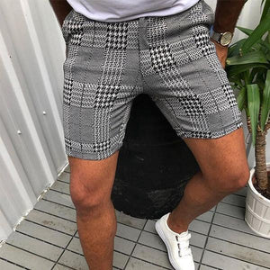 Modische Plaid Slim Shorts Für Herren Shorts