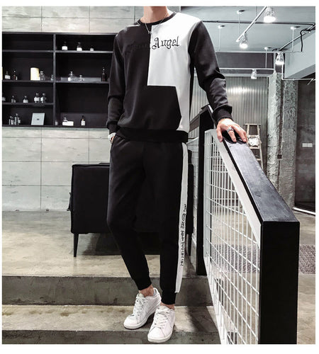Autumn Round Neck Sweater Long Sleeve Nine Pants Suits