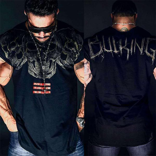 Men's Fitness Skull Print Short Sleeve T-Shirt
