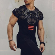 Load image into Gallery viewer, Men's Fitness Skull Print Short Sleeve T-Shirt