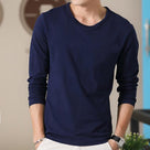Men's Long Sleeve T-Shirt Round Neck Solid Color Shirt Men's Wear