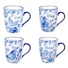 Load image into Gallery viewer, Believe, Hope, Pray & Love Ceramic Mug Set in Blue
