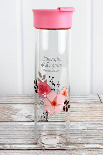 STRENGTH & DIGNITY PINK FLORAL 20OZ GLASS WATER BOTTLE