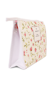 ALWAYS BE HAPPY! PINK ROSE LARGE COSMETIC BAG
