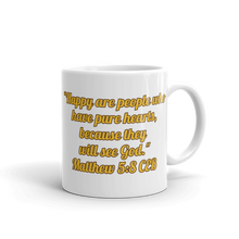 "Load image into Gallery viewer, Bible Verse Mug ""Happy Are People"""