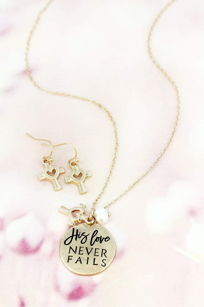 WORN GOLDTONE 'HIS LOVE NEVER FAILS' NECKLACE AND EARRING SET