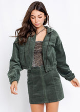 Load image into Gallery viewer, Corduroy Hooded Crop Jacket