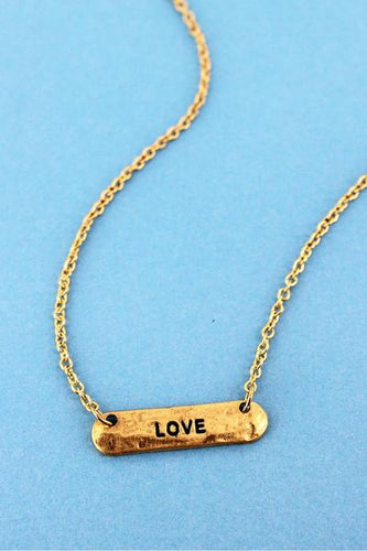 Crave Worn Goldtone 'LOVE' Bar Necklace