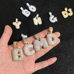 Gold Bubble Letters Initial Pendants With Zircon Diamonds & Chain
