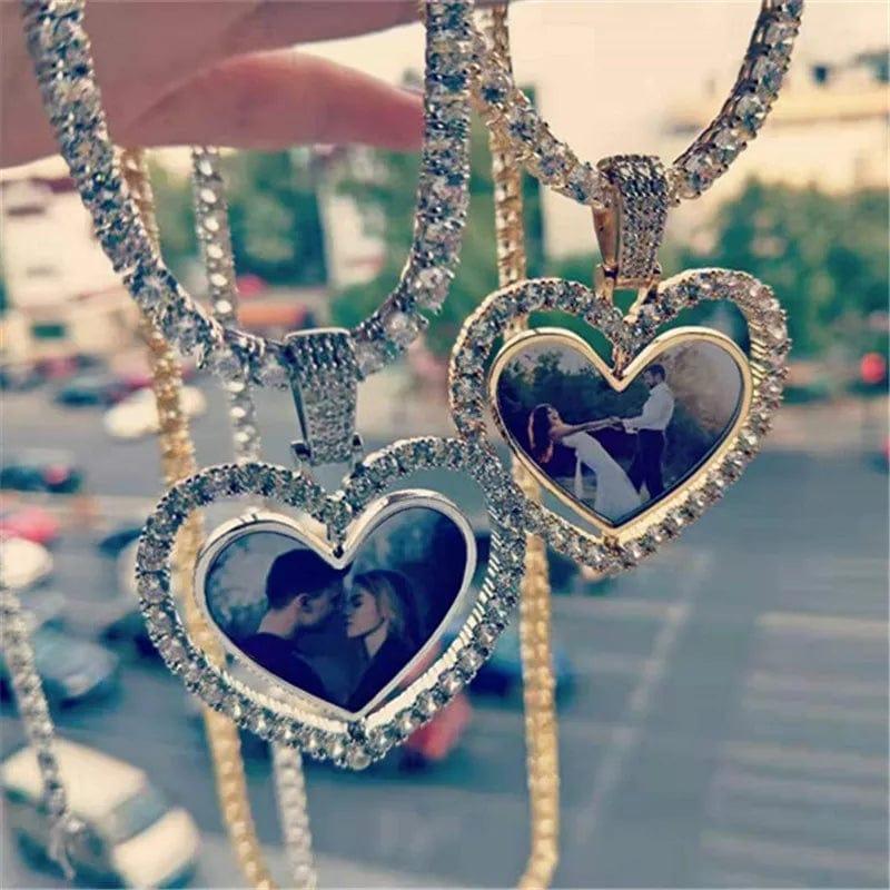 Rotating Double-sided Custom Photo Heart Pendant & Necklace