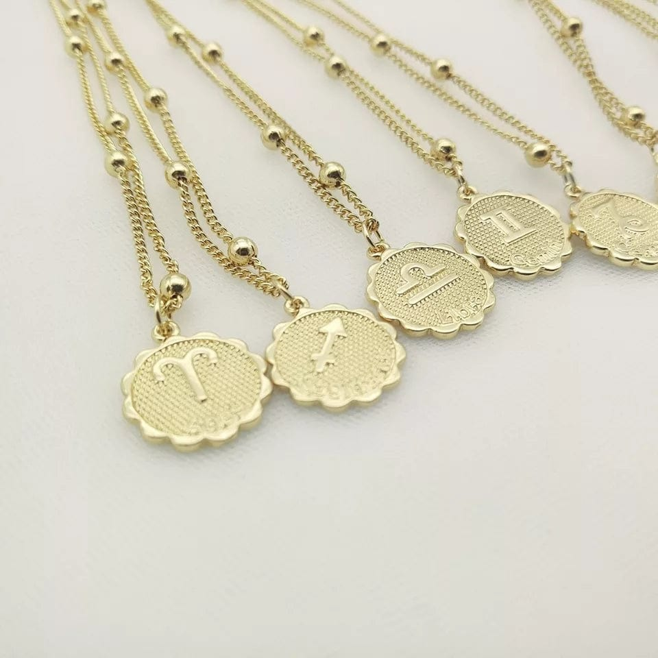 Sunburst Round 12 Zodiac Coin Pendant & Semi-Beaded Chain Necklace