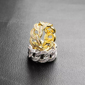 Cuban Link Men's Ring With AAA CZ Diamonds - Gold Silver