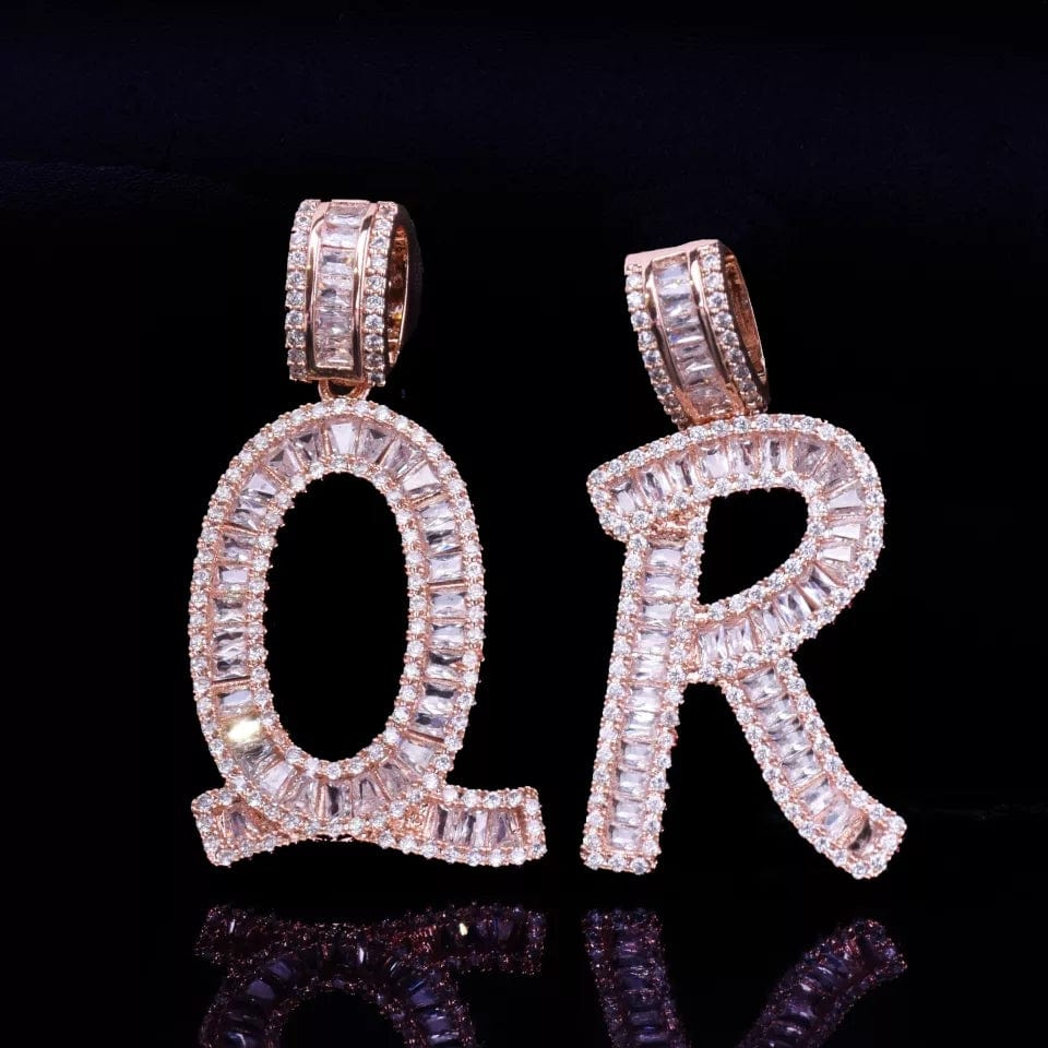 Baguette Initials Letters With CZ & Necklace