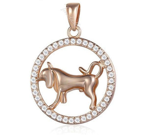 Rose Gold 12 Zodiac Pendant With CZ Diamonds