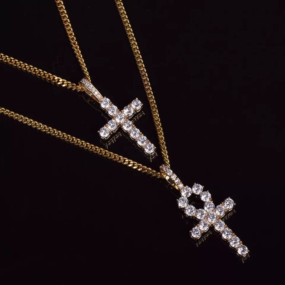 Gold Ankh/Cross Necklace Set With Zircon Diamonds