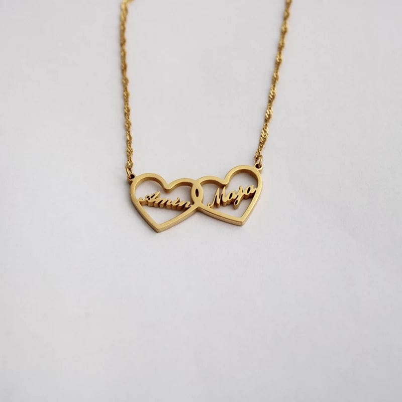 Siamese Hearts Custom Name Necklace