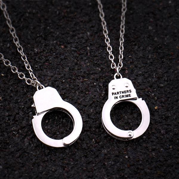 "2pc ""Partners In Crime"" Silver Hand Cuffs Necklace Set For Best Friends"