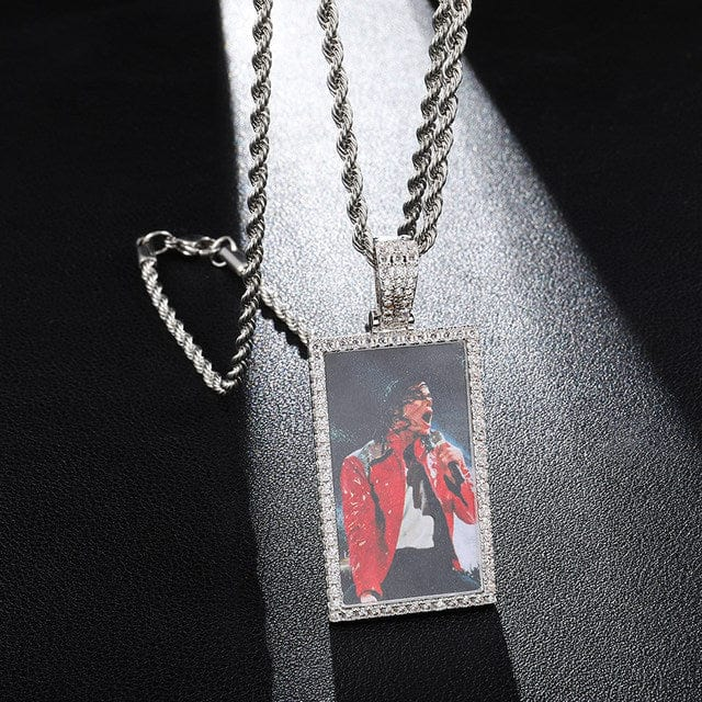 square custom photo pendants