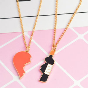 "2 Piece Interlocking ""Drunk In Love"" Pendant Necklaces"