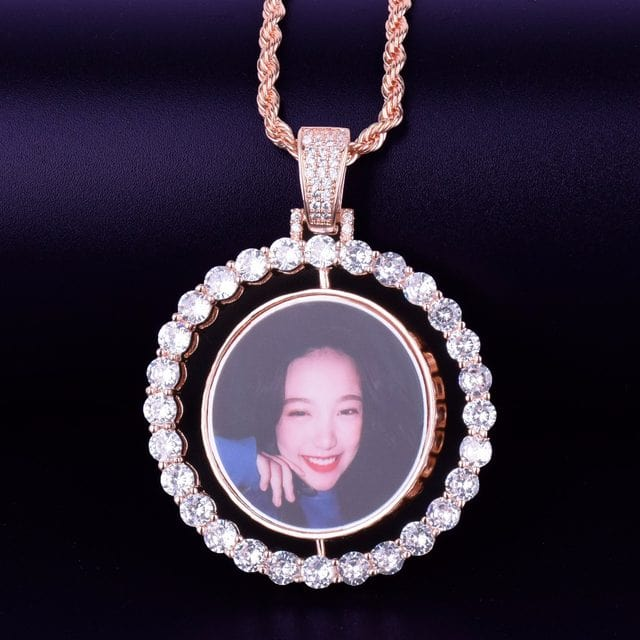 Custom Rotating Double-Sided Picture Pendant & Necklace (Big or Small Frame)