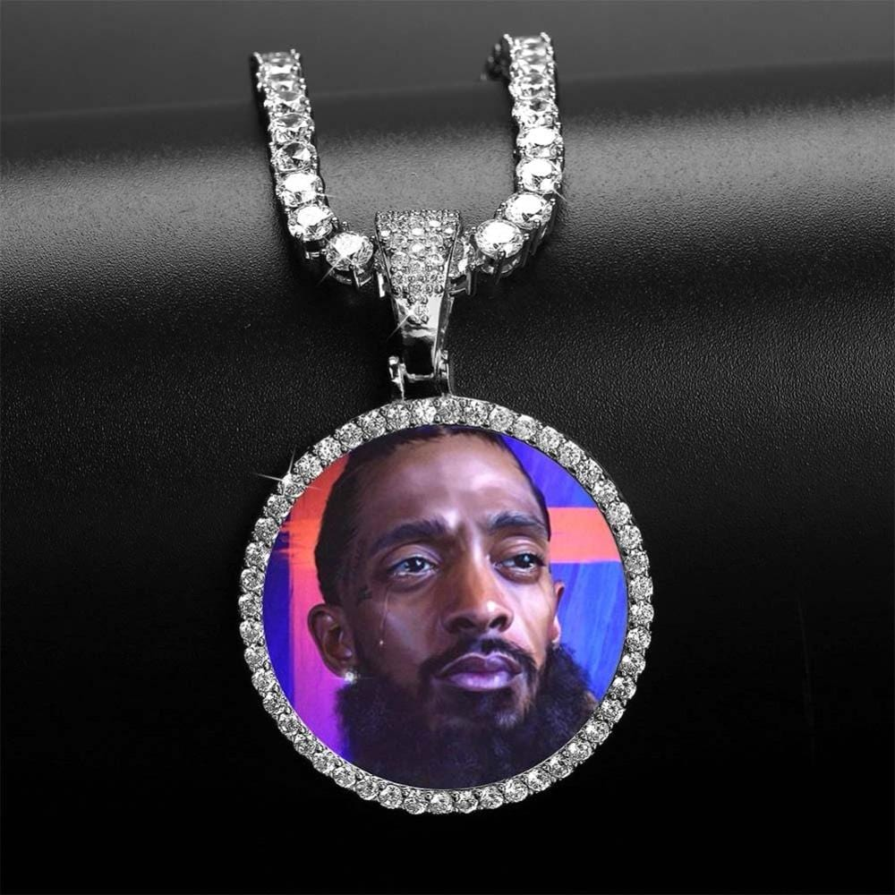 White Gold Custom Memory Picture Pendant Necklace