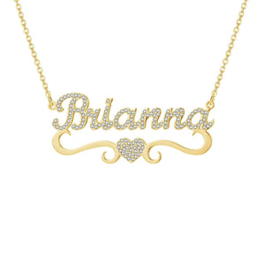 Personalized Name Pendant Necklace With Heart Accent