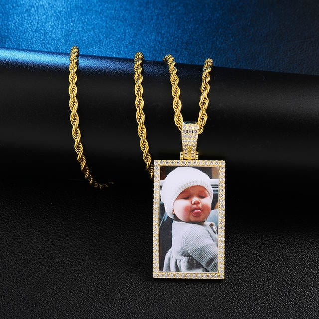 Gold Rectangular custom photo pendants