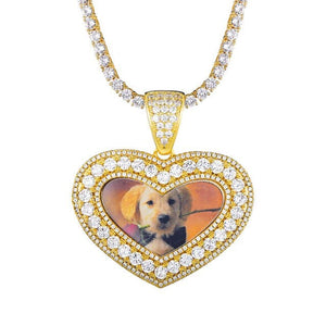 Custom Heart Shaped Photo Pendant (Thick Border) & Necklace